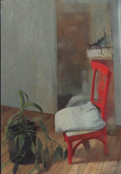 Intérieur à la chaise rouge