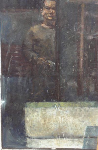 Autoportrait aux bacs de géraniums