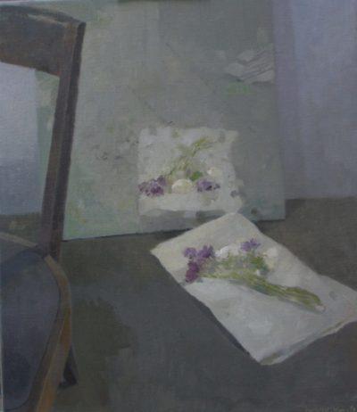 Intérieur aux fleurs et chaise
