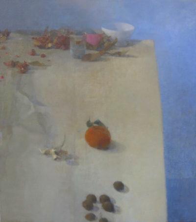 Table au bleu et mandarine
