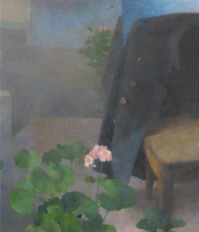 Chair with a geranium